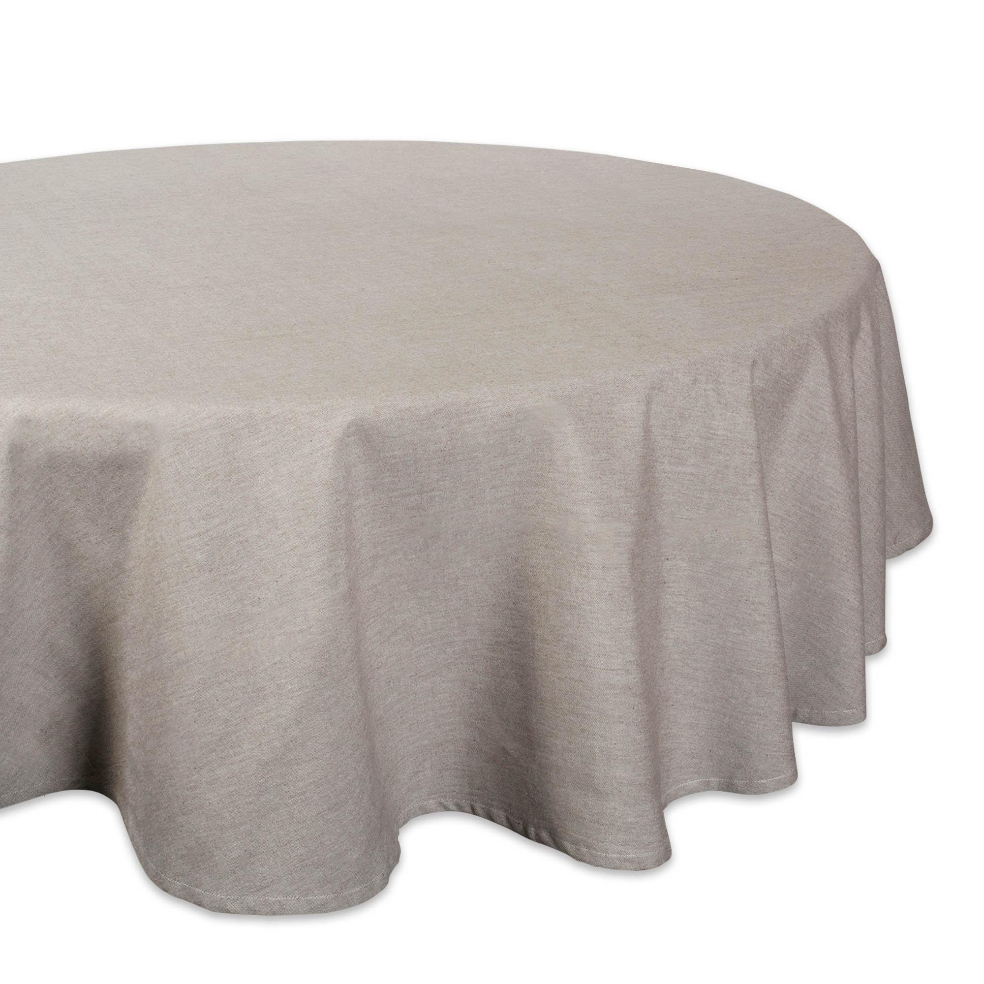 Design Imports DII Natural Solid Chambray Tablecloth 70 Roun
